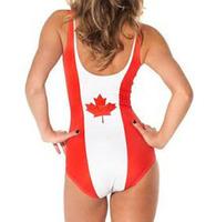 free shipping Bikini S Bodysuit sexy fashion one piece swimwear bathing suits Digital printing The Canadian flag-YF019