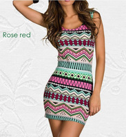 multiple colors 2014 new fashion European and American style Indian geometric pattern print sleeveless  summer dress vestidos
