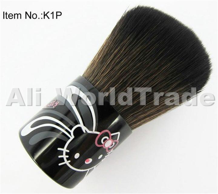 Hello Kitty Natural Animal Hair Black Makeup Tool Blush Kabuki brush With Leather Bag,Face Power Brush Free Shipping 100pcs/lots(China (Mainland))
