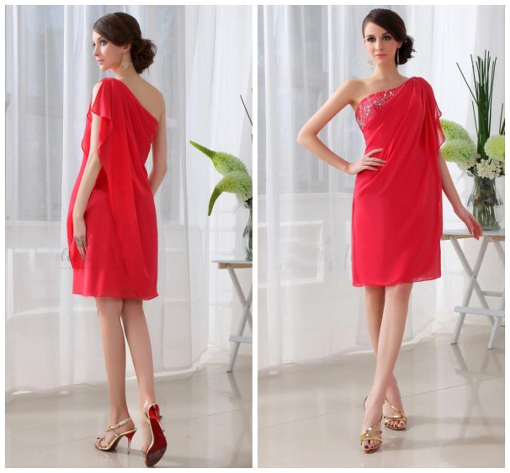 - ombro vermelho vestidos de baile plissado barato prom vestido curto vestido de festa de casamento 2014 z0096 new prom dress(China (Mainland))
