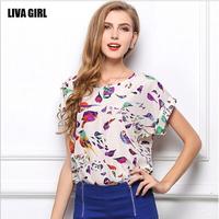 New 2014 Fashion Sexy Women  Plus Size Short-Sleeve Chiffon Shirts Batwing Sleeve Loose Print Blouses