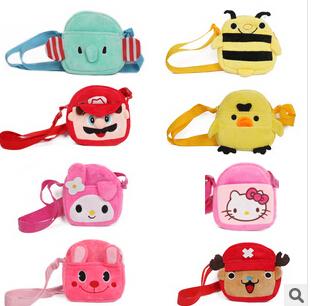 (10 Pcs/Lot) Many Cartoon Design Hello Kitty Minnie Elephant Bunny Children Girl Double Layers Messenger Bags(China (Mainland))