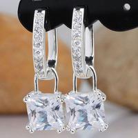 Women's Lock Purple Amethyst 18K GP Huggie Dangle S925 Sterling Silver Earrings E087