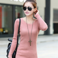 Hot sale 2013 Autumn NEW Fashion Knitted Sweater Solid Color Pattern Sweaters Style Pullover Sweater Women WS66