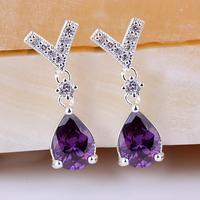 Women Sterling 925 Silver Earrings Y Style Dangle Purple Amethyst GP Finished  E102
