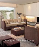 Rattan Ootdoor 5PC Garden Modern Sofa Set With Ottoman