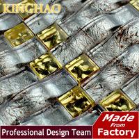 [KINGHAO] Yellow mosaic Gold metal kitchen backsplash KAR14 glass mosaic tile kitchen glass tiles pattern