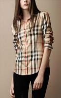 Hot sale 2014 new fashion Lattice casual blouse Europe stripe plaid printed Vintage Design lady long sleeve slim women shirt