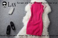 2014 autumn winter Heavy manual stretchy slim pearl beading shoulder fashion vintage brand dress formal dress free shipping*