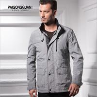 New Arrival Casual Men Coats & Jackets Basic Jacket Brand Fashion 2014 Grey Men'S Jacket Waterproof Autumn Spring Fitness Plaid