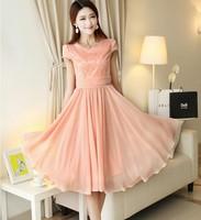 2014 summer new Korean version  Large size women's long dress organza Slim Fit  Remarkable temperament chiffon dress summer