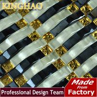 [KINGHAO] Yellow mosaic Gold metal kitchen backsplash KAR12 glass mosaic tile kitchen glass tiles pattern