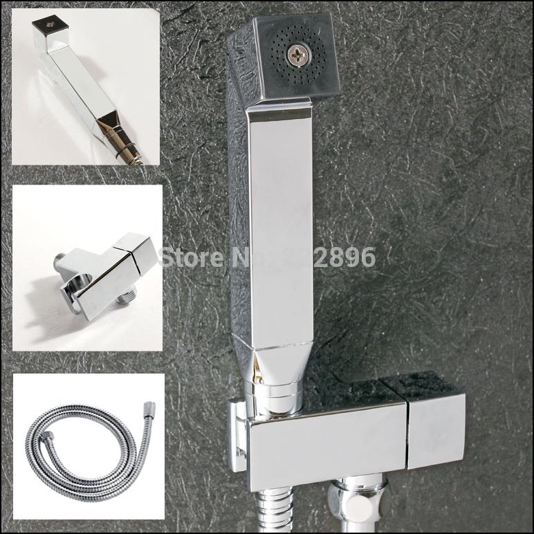 Livraison gratuite chrome en laiton massif shattaf de douche bidet main femmes. ensemble./portable avec robinet de bidet pulvérisation tuyau 1.5m lanos