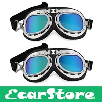 2x Motorcycle Helmet Windproof Glasses Goggles Colorful  Lens