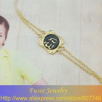 ISE00668-1 18K golden plated Muslim islamic Allah Black/White bracelet 2pcs/lot