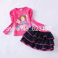 Children Outwear Sofia T shirt + Denim Cake Skirt Girl's Half Skirt Two Pieces Girl's Autumn Clothing Set Child Set Autumn 2014