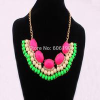 HX1015 High Fashion Jewellery newly design high quality handmade acrylic beads charming jewelry women's necklace