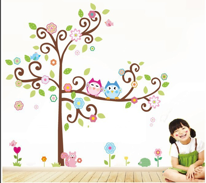 Free Shipping 2014 new Zooyoo brand beautiful colorful tree and two owls wall sticker home decor wall stickers for kids room(China (Mainland))