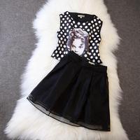 T station serves the same paragraph avatar 2014 summer women Polka Dot pattern silk blouse + skirt suit