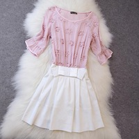 Summer 2014 new European and American women's high-end women's embroidery Feifei sleeve dress Slim wild