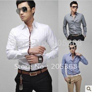 New Mens Shirts,Leisure Shirts,Casual Slim Fit Stylish Hot Dress Shirts Color:White,Pink,Blue,Gray Size:M-L-XL-XXL(China (Mainland))