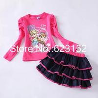 Wholesale Frozen Clothing Set Child Girls Set Autumn Long Sleeve Frozen T shirt + Cake Skirt Denim Children Sets Two Pieces