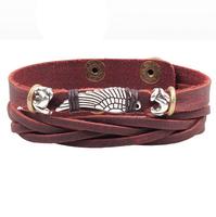 2014 New Angel's Wing Alloy Accessories Handmade Braided Coffee Leather Snap Fastener Women Men Bracelet   RuYiSLQ244