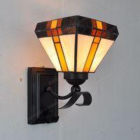 British antique simplicity glazed wall Tiffany corridor balcony bedroom bedside lamp mirror nostalgia complex lighting