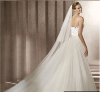 Romantic  New  White / ivory  Cathedral  3T  Trimming veil