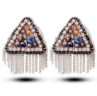 Free shipping star style classic Austrian crystal earrings bohemian fashion triangle earrings 2014504