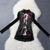 Spring and summer 2014 women's European leg of women's new women's wild Slim long-sleeved T-shirt printing