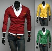 FreeShipping Stylish Men Slim Fit Cotton Knit Sweater Cardigan Button Deep V Neck Basic Coat