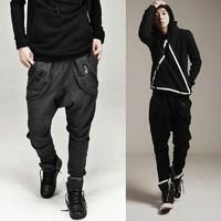 Free shipping Casual Pants for Men Fashion Cool Harem Pants Sweat pant Zipper Pocket Design Black Dark Gray M-XXL X77