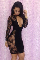 Hot black Sexy Women fashion lace Bodycon Club Party dress Tight women dress evening dress