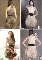 2014 New Best-Selling! One- Shoulder Bow Aboveknee,Mini Mermaid Short Party Red Carpet Prom Dresses