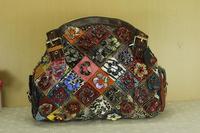 Fashion Women Bohemia Handbag Color Block Genuine Leather Messenger Bags Panelled Cowhide Shell Bag For Socialite Lady 2 Styles