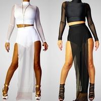 Sexy Club Dress 2014 Crop Top Two Pieces Set Women Mesh Maxi Vestidos Women New Long 2 piece Bandage Dress For Party Dresses 703
