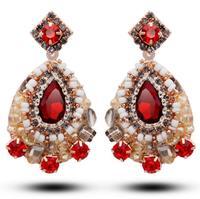Free Shipping fiery gypsy girl passion red rhinestone earrings crystal earrings 2014523