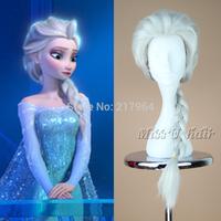 2014 New Cartoon Movie Frozen Snow Queen Princess Elsa Long Grey Silver Braid Cosplay Anime Wig Classic Halloween Hair