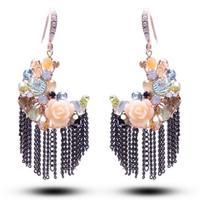 Free shipping high-end jewelry Austrian crystal earrings tassel earrings moon Mother's Day gift 2014509