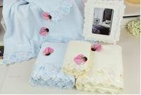 New arrival 100% cotton yarn diamond lace decoration 3piece set Towel set: bath towel 70*140cm+2pcs face towel 33*76cm
