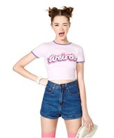 Modal Slim hit the color trim Weird letters printed short-sleeved t-shirt a light purple short stretch fit t shirts