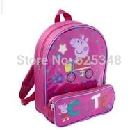 2014 Peppa pig Backpack Kids school bags, cartoon children backpacks with pencil-case mochila infantil mochila peppa pig bolsas