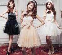 New Fashion Elegant Women Gauze Lace Strapless Formal Dresses Sexy Mini Princess Prom Party Dress Ball Gown