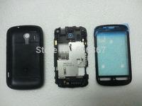 Free shipping cell phone full housings front frame middle frame back cover battery cover for Explorer A310e black