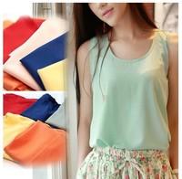 free shipping  2014 new design fashion summer tank top for lady ,chiffon Sleeveless vest primer,fashion girl tank tops