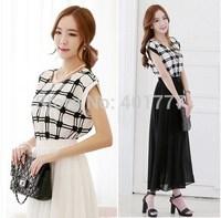 2014 Summer dress NEW Korean Womens Fashion Chiffon Pleated Bow batwing  sleeve Lattice stitching slim chiffon long dress