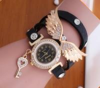 New Women Vintage Leather Strap Watches,Set auger Angel Wings Rivet Bracelet Women Dress Watch