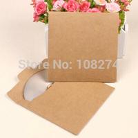 250gsm Eco friendly kraft paper CD/DVD bagsCase Envelope Sleeve blank paper CD Bag Holder Cover