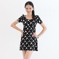 free shippinhg  Puff sleeve princess sleeve high waist polka dot female one-piece dress black